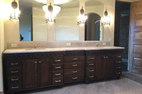 brown custom cabinets in bathroom