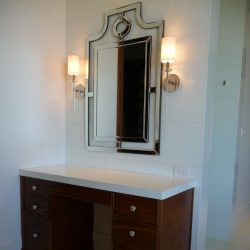 brown cabinets in bathroom